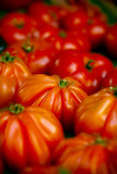 Heirloom tomatoes. Heirloom/ beefsteak tomatoes at the market Stock Photos