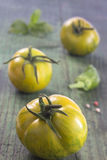 Heirloom tomatoes and basil. Leaves and spices royalty free stock images