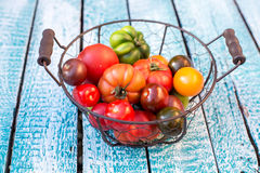 Heirloom tomatoes in basket Stock Photos