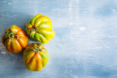 Heirloom tomatoes, close-up. Close up of heirloom tomatoes over a blu rusty background royalty free stock photos