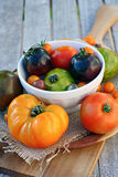 Heirloom Tomatoes on Cutting Board Stock Photos
