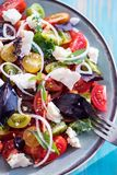 Heirloom tomatoes salad with cheese and basil Royalty Free Stock Images
