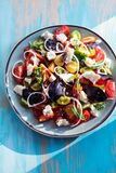 Heirloom tomatoes salad with cheese and basil Stock Photo