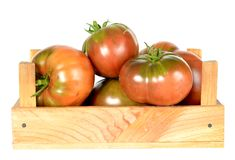 Heirloom tomatoes. On vine in wooden crate isolated on white background royalty free stock photography
