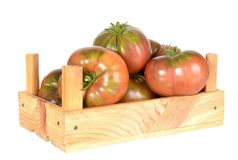 Heirloom tomatoes. On vine in wooden crate isolated on white background royalty free stock photos