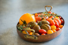 Heirloom tomatoes in vintage pot Royalty Free Stock Photo