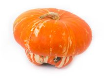Heirloom turban squash. Over white background Royalty Free Stock Images