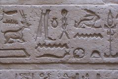 Heiroglyphs. Close up of heiroglyphs on sandstone Stock Images