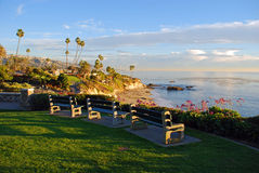 Heisler Parks viewing benches, Laguna Beach, California. This image was taken during the winter months along Heisler Parks spectacular landscaped walkways with Royalty Free Stock Photography
