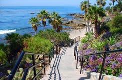Heisler Park stairway to Rock Pile Beach, Laguna Beach CA. Image shows an inviting stairway to Rock Pile Beach below Heisler Park in North Laguna Beach stock photo