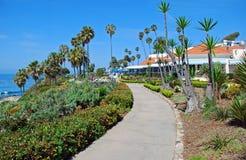 Heisler Park walkway, Laguna Beach, California. The image shows part of the Heisler Park walkway, Laguna Beach, California. Situated on a bluff, Heisler Park is royalty free stock photo