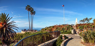 Heisler Park walkway. Overlooking the coastline cliffs of Laguna Beach, California in winter Stock Photography