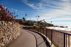 Heisler Park walkway. Overlooking the coastline cliffs of Laguna Beach, California in winter Stock Images