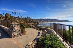 Heisler Park walkway. Overlooking the coastline cliffs of Laguna Beach, California in winter Stock Image
