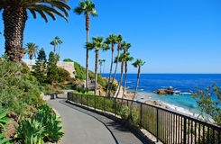 Heisler Parks landscaped walkways above Divers Cove, California Stock Photography