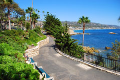 Heisler Parks landscaped walkways above Rock Pile Beach, California Stock Images