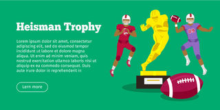Heisman Trophy and American Football Players Royalty Free Stock Photos