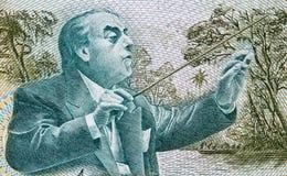 Heitor Villa-Lobos che conduce un'orchestra sul Cruzado del Brasile 500 Immagini Stock Libere da Diritti