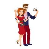 Heitrer gutaussehender Mann und Frau im roten Kleid nehmen einen Schnappschuß von selbst Stockfotografie