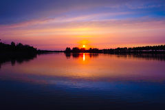 The heiyu lake sunset Stock Image