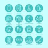 Heizung, Warmwasserboiler, Thermostat, elektrische, Gas, Solarheizungen und andere HausHeizung zeichnen Ikonen Dünnes lineares Stockfoto
