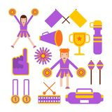 Hejaklacksledareflickor team och symboler för lägenhet för vektor för plagg för sportklubba cheerleading stock illustrationer