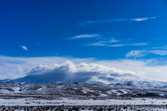 Hekla wulkan zakrywający w chmurach Fotografia Royalty Free