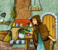 Heks en de jager in oude ruimte Royalty-vrije Stock Afbeeldingen