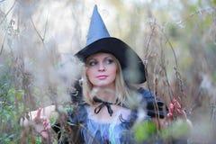 Heks in het bos stock afbeeldingen