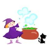 Heks, ketel en zwarte kat Stock Illustratie