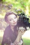 Heks met een vreemde kooi Stock Foto