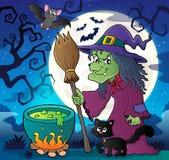 Heks met kat en bezemthemabeeld 2 Stock Foto's