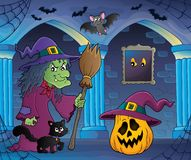 Heks met kat en bezemthemabeeld 6 Stock Afbeelding