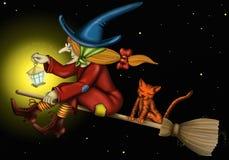 Heks met kat en licht Royalty-vrije Stock Afbeeldingen