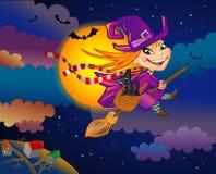 Heks op de vooravond van Halloween Stock Foto's