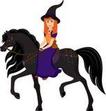 Heks op een zwart paard Royalty-vrije Stock Afbeeldingen