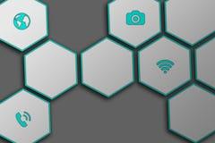 Heksagonalna matryca z smartphone icones Zdjęcia Stock
