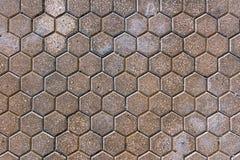 Heksagonalny betonowy bruk tafluje tło fotografia stock