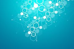 Heksagonalny geometryczny tło Sześciokąty genetyczni i ogólnospołeczna sieć Przyszłościowy geometryczny szablon prezentacja wymia fotografia stock