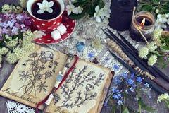 Heksenboek met magische en het helen kruiden, zwarte kaarsen en kop thee royalty-vrije stock foto