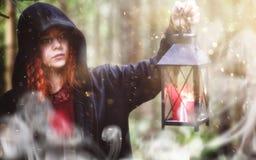 Heksenritueel in een bos stock fotografie