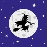 Heksenvliegen op een bezemsteel tegen de volle maan royalty-vrije illustratie