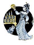 Heksenvrouw met schedels op zwarte achtergrond wordt geïsoleerd die vector illustratie