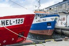 Hel amarrados Polonia de los barcos rastreadores Imágenes de archivo libres de regalías