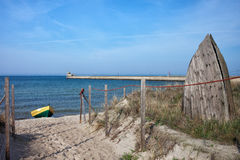 Hel Beach and Pier at Baltic Sea in Poland Royalty Free Stock Photos