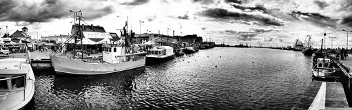 Hel del puerto Mirada artística en blanco y negro Fotos de archivo