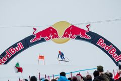 Hel Hahnenkamm Ski Race do ¼ de Kitzbà Áustria 2018 Foto de Stock Royalty Free