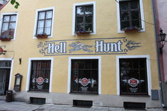 Hel Hunt Pub Tallinn Estonia Royalty-vrije Stock Foto