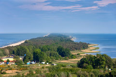 Hel Peninsula in Poland. Baltic Sea and Puck Bay (Zatoka Pucka), view from above, Kashubia, Pomerania region Stock Images