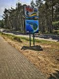 Hel in Poland. Welcome Sign in Hel village over Baltic Sea in Poland Stock Image